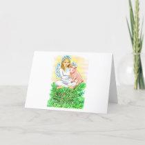 Imogene Christmas Angel Piglet JL Biel Holiday Card