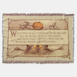 Imp Jack O' Lantern Witch Moon Bat Throw Blanket