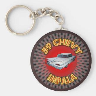 Impala 1959 de Chevy Keychain. Llavero Redondo Tipo Pin