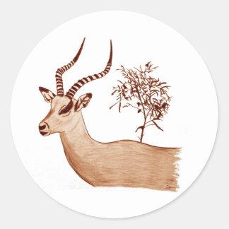 Impala Antelope Animal Wildlife Drawing Sketch Classic Round Sticker