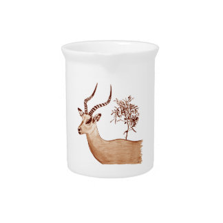 Impala Antelope Animal Wildlife Drawing Sketch Drink Pitcher