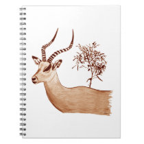 Impala Antelope Animal Wildlife Drawing Sketch Spiral Notebook