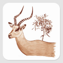 Impala Antelope Animal Wildlife Drawing Sketch Square Sticker