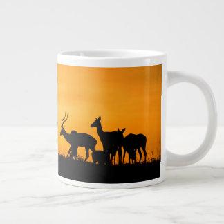 Impala Herd at Sunset Large Coffee Mug