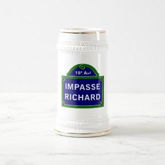 Impasse Richard, Paris Street Sign 18 Oz Beer Stein