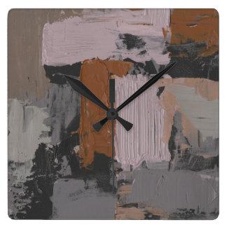 Impasto Abstract I Square Wall Clock