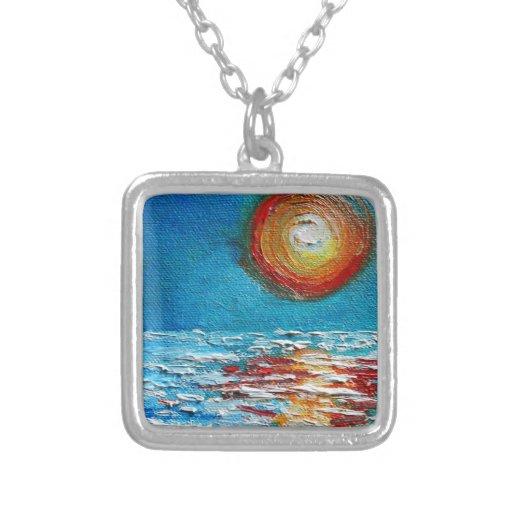 Impasto Abstract Sunrise Pendant