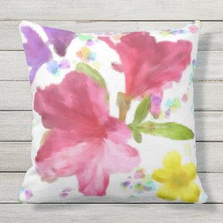 Impasto Flowers Throw Pillow