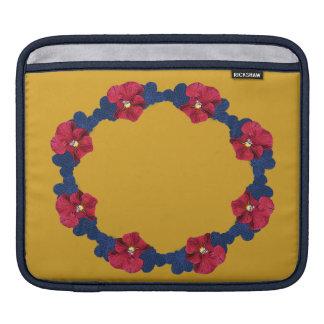 Impatiens rojos, flor azul en el oro mangas de iPad