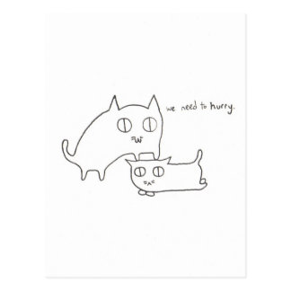 Impatient Kitty and Friend Postcard