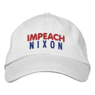 IMPEACH NIXON BASIC ADJUSTABLE CAP - WHITE EMBROIDERED BASEBALL CAPS