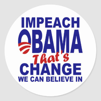 Impeach Obama Classic Round Sticker