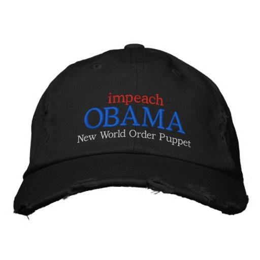 impeach OBAMA New World Order Puppet Baseball Cap