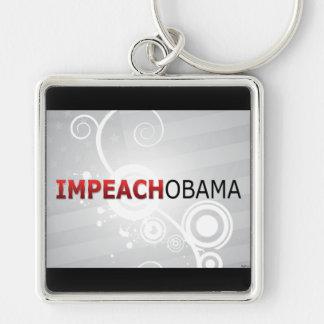 Impeach Obama Silver-Colored Square Keychain