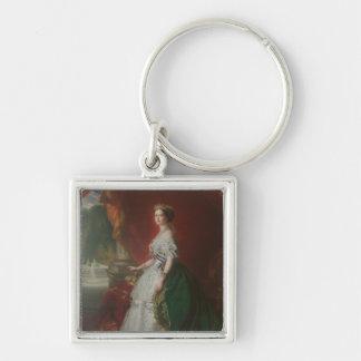 Imperatrice Eugenie De Silver-Colored Square Keychain