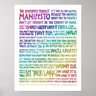 Imperfectionist Manifesto Poster - Rainbow White