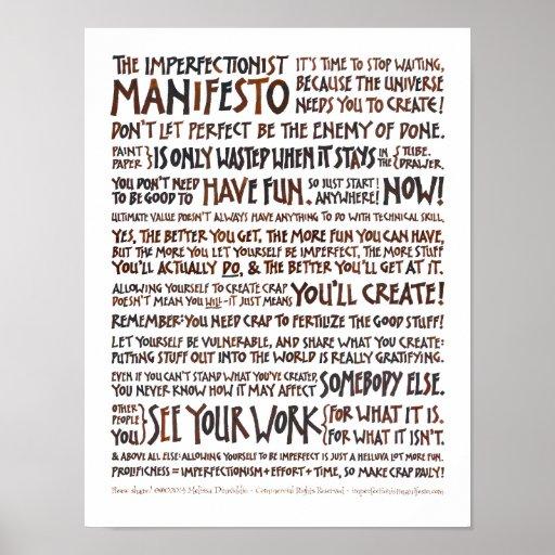 Imperfectionist Manifesto Poster - Walnut Ink