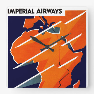 Imperial Airways Africa Square Wall Clocks