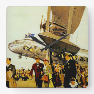 Imperial Airways Arrival Square Wall Clocks