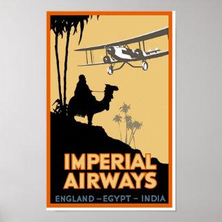 Imperial Airways ~ England - Egypt - India Poster