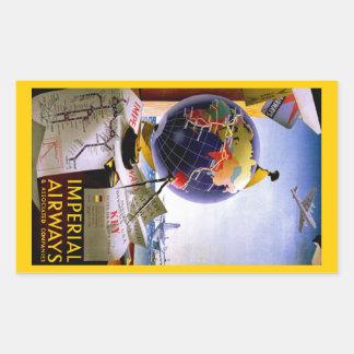 Imperial Airways Globe Rectangular Sticker