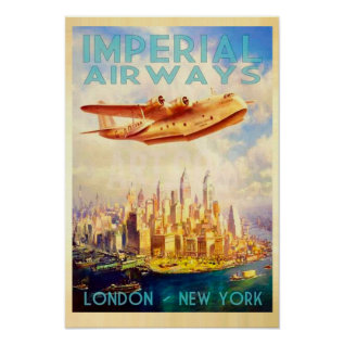 Imperial Airways London & New York Vintage Travel Poster at Zazzle