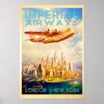 Imperial Airways Londres y viaje del vintage de Póster