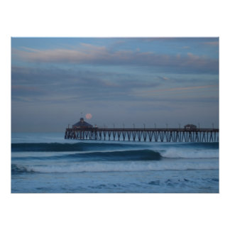 Imperial Beach Moon Set Poster