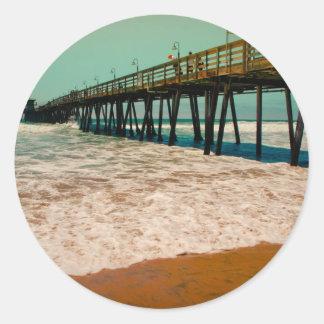 Imperial Beach Pier Classic Round Sticker