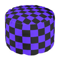 Imperial Blue and Black Checked Pouf