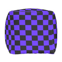 Imperial Blue and Black Checkered Ottoman