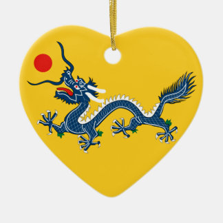 Imperial China Flag Heart Double-Sided Heart Ceramic Christmas Ornament