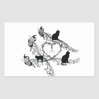 Imperial court music cat rectangular sticker