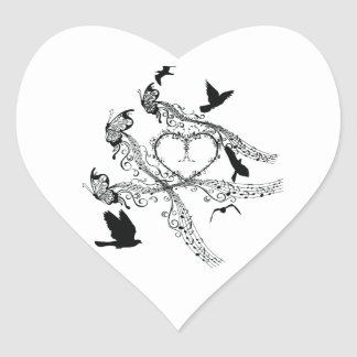 Imperial court music flapping heart sticker