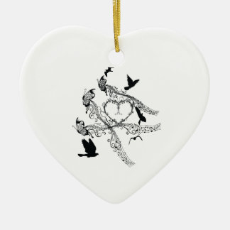 Imperial court music flapping Double-Sided heart ceramic christmas ornament