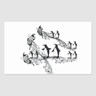 Imperial court music penguin rectangular sticker