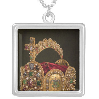 Imperial Crown made for the coronation of Otto Silver Plated Necklace