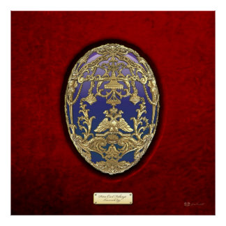 Imperial Faberge Eggs - Tsarevich Egg on Red Velve Poster