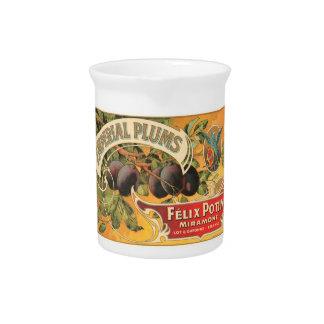 Imperial Plums Felix Potin Miramont VIntage Crate  Drink Pitcher