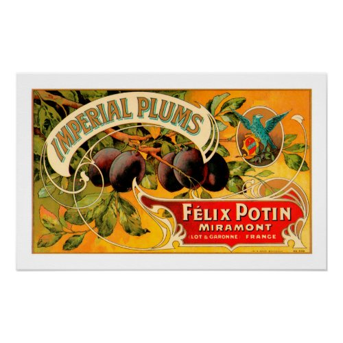 Imperial Plums Produce Crate Label - Poster