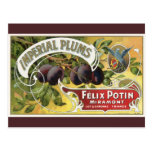 Imperial Plums, Vintage Fruit Crate Label Art Post Cards