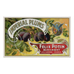Imperial Plums, Vintage Fruit Crate Label Art Poster