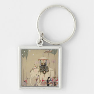 Imperial Procession (colour litho) Silver-Colored Square Keychain