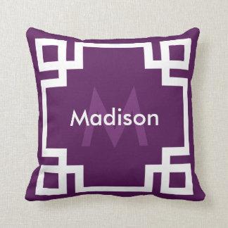 Imperial Purple White Greek Key Monogram Throw Pillow