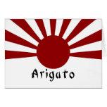 Imperiales japoneses del sol naciente le agradecen tarjeta pequeña