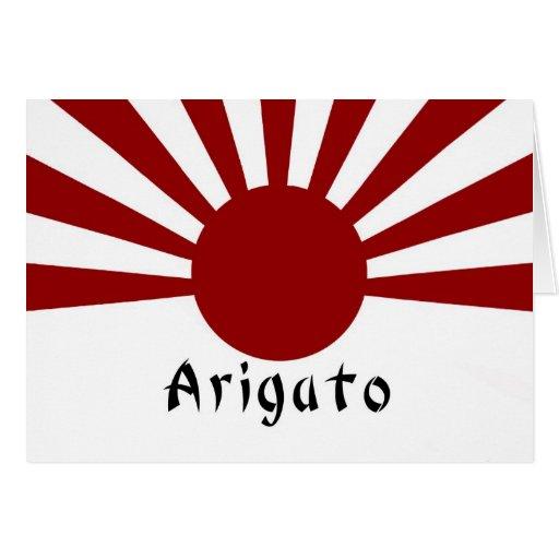 Imperiales japoneses del sol naciente le agradecen tarjeta