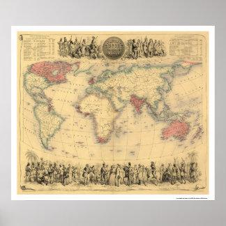 Imperio británico en el mundo entero 1855 póster