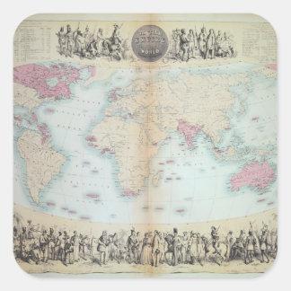 Imperio británico en el mundo entero pegatina cuadrada