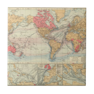 Imperio británico, rutas, corrientes azulejo cuadrado pequeño