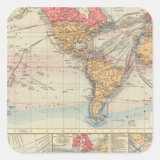 Imperio británico, rutas, corrientes pegatina cuadrada